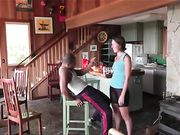 Swinger wife fucking in the cabin in the woods with black lover