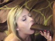 Slut blonde wife blowing huge black cock in front of husband